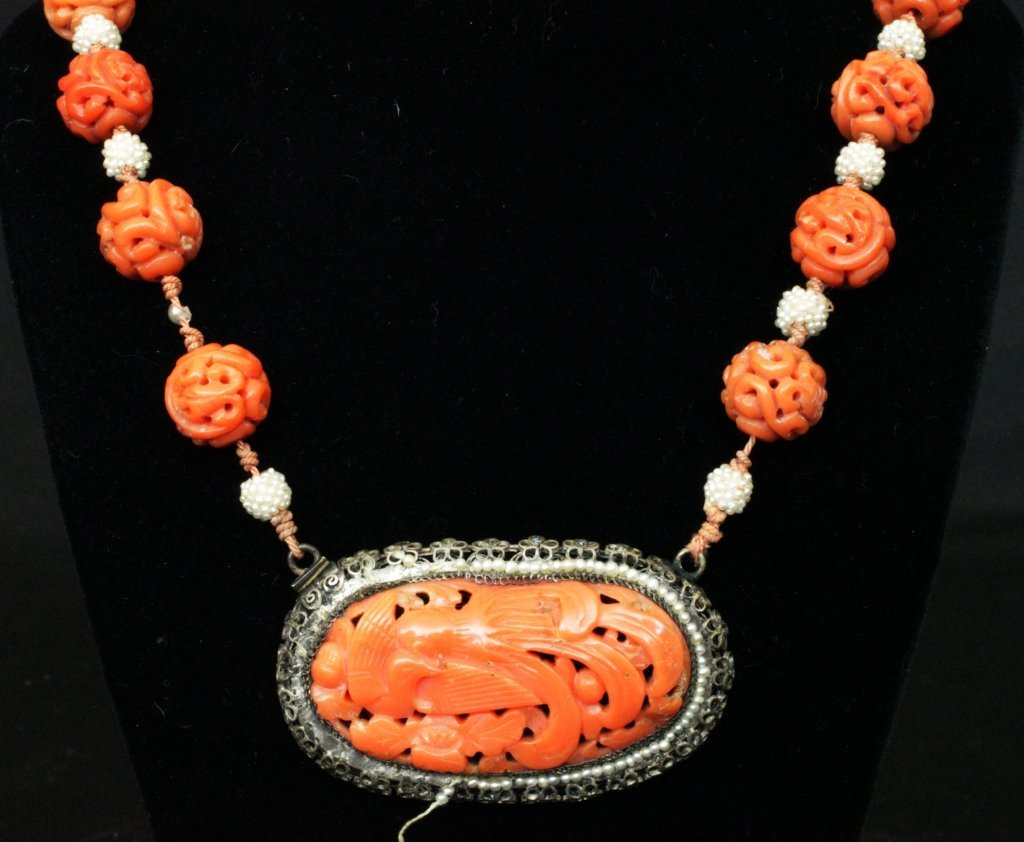 Chinese Carved Coral, Seed Pearl & Silver Necklace