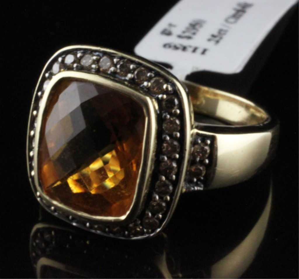 LeVian Diamond and Citrine Ring in Yellow Gold