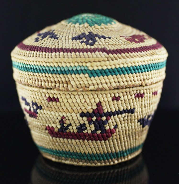Vintage Native Alaskan Finely Woven Mini Basket