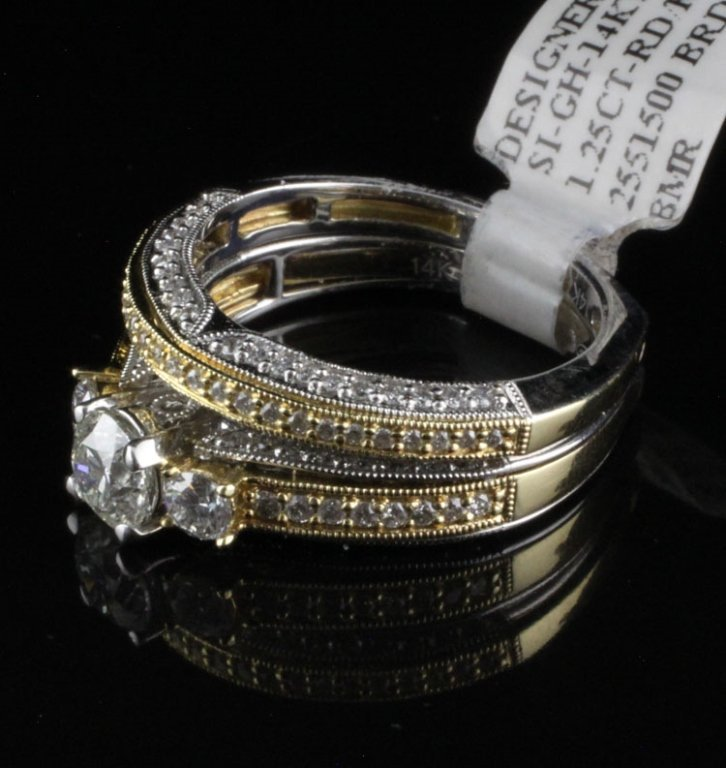 1.25ct Bridal Set in Two Tone Yellow & White
