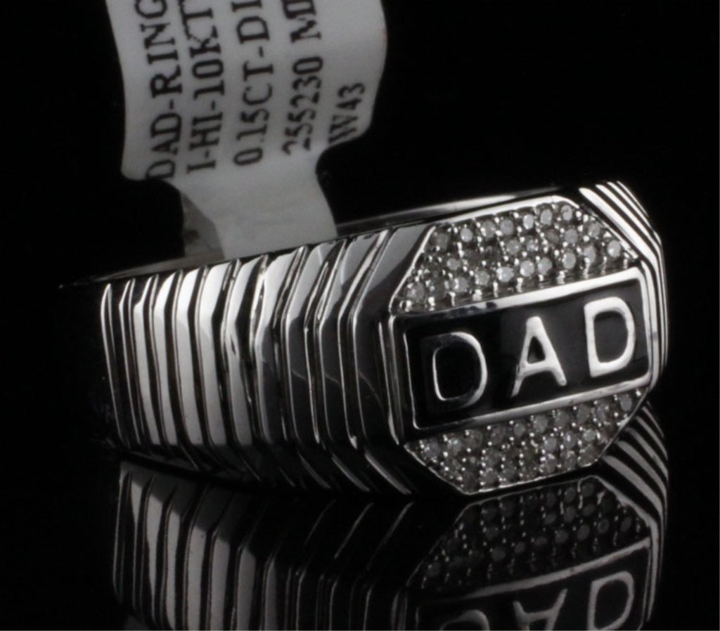 "Men's ""DAD"" Ring with Diamonds in White Gold"