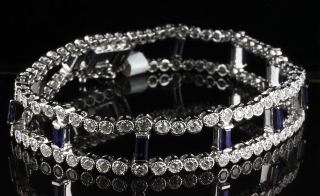 7.50ct Diamond & Sapphire Bracelet in White Gold