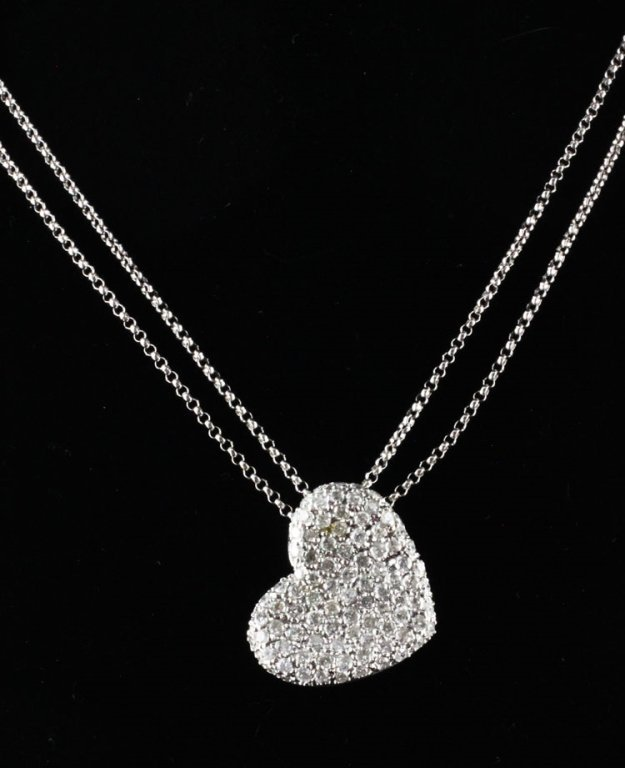 1ct tw Diamond Heart Necklace in 14kwg