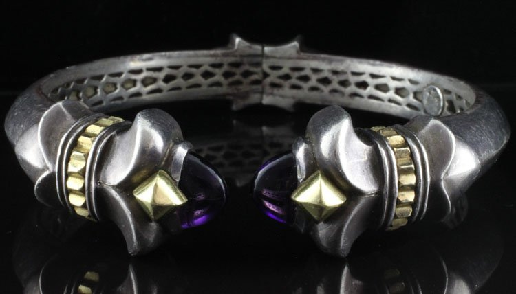 Hinged Bangle with Amethyst .925 & Yellow Gold