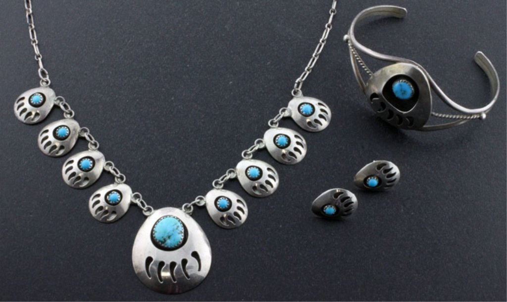 Native American Bear Claw Sterling Jewelry Set