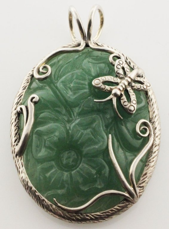 Jewelry-Sterling & Carved Jade Pendant