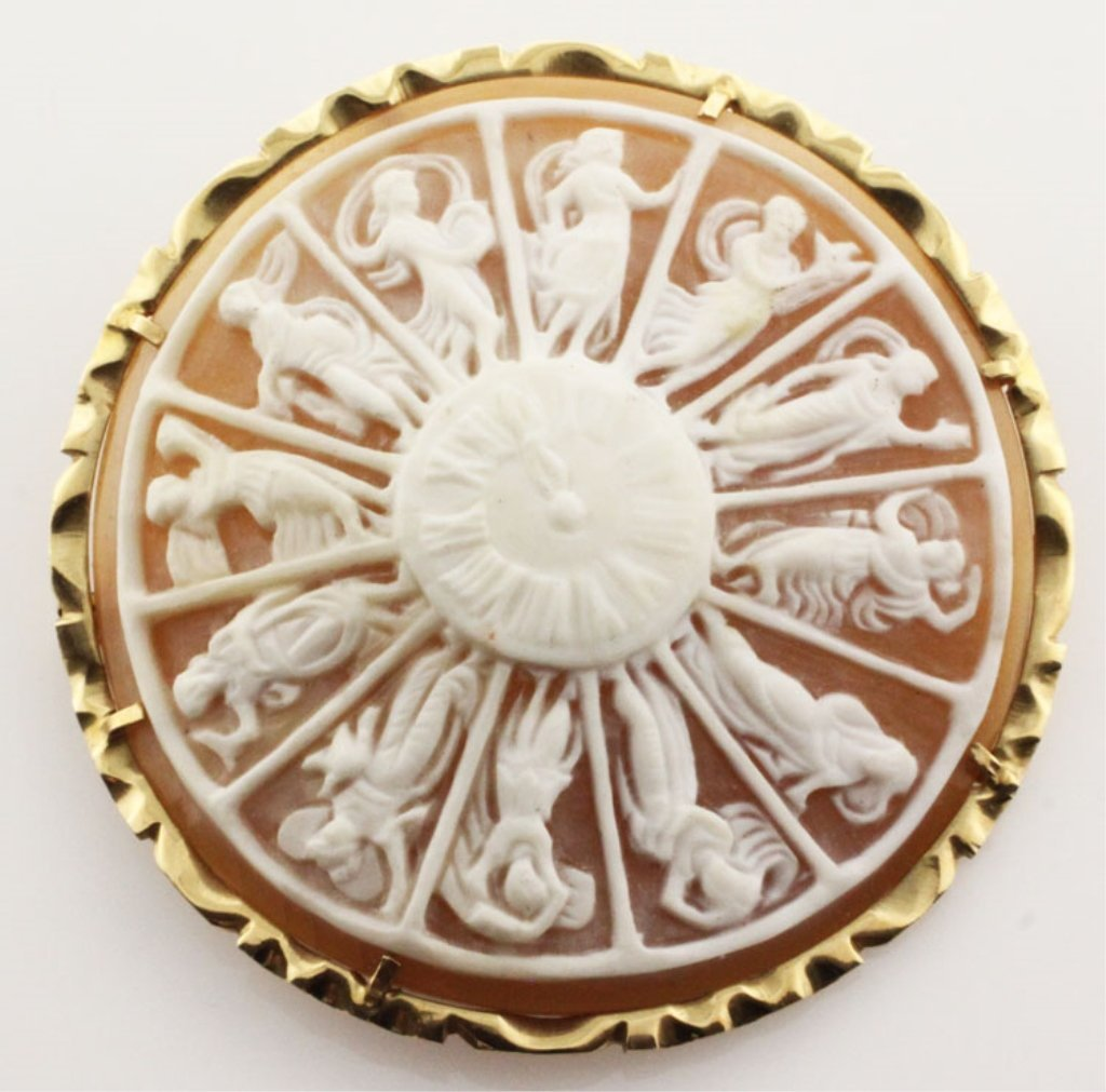 Giovanni Apa Pendant Brooch Cameo with Yellow Gold