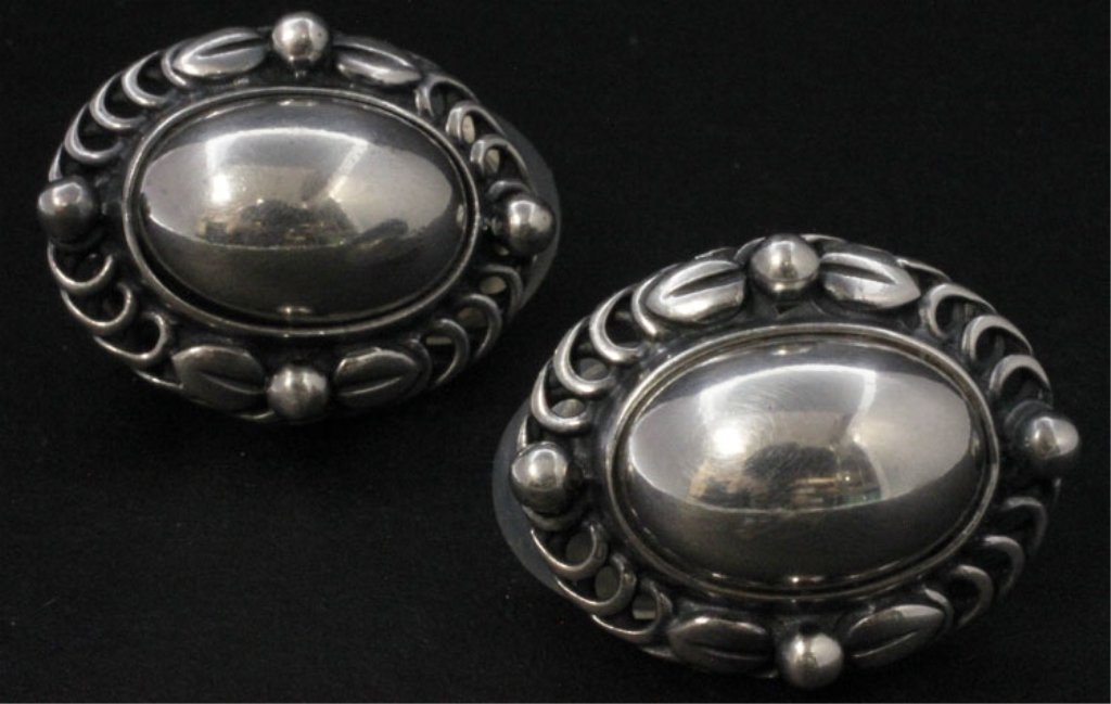 Pair of Georg Jensen Silver 1995 Heritage Earrings