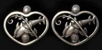 Pair of George Jensen Silver No. 101 Earrings