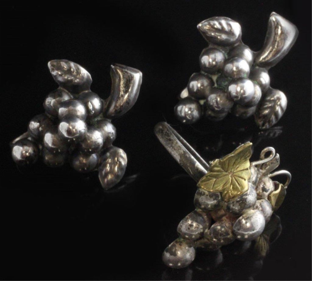 Vintage Grape Motif Earring & Ring Set in Sterling