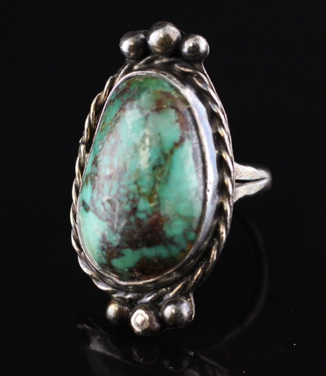 Native American Style Turquoise Ring in Sterling