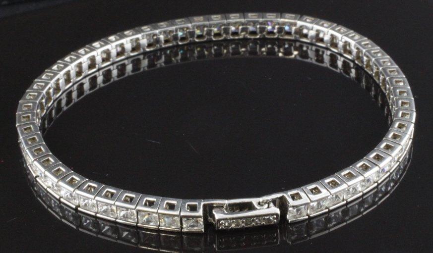 Princess CZ Tennis Bracelet in Sterling
