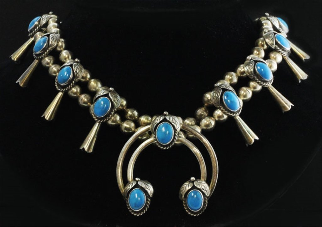 Native American Style Squash Blossom Necklace