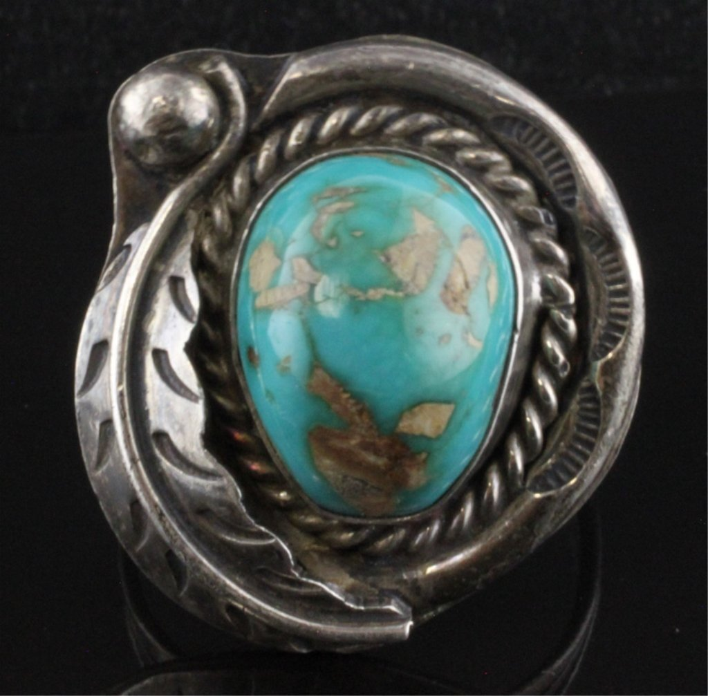 Native American Style Sterling Ring with Turquoise