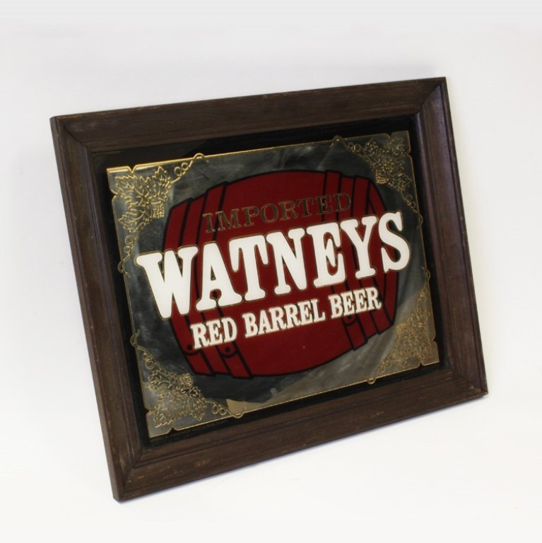 Imported Watneys Red Barrel Beer Mirror Bar Sign