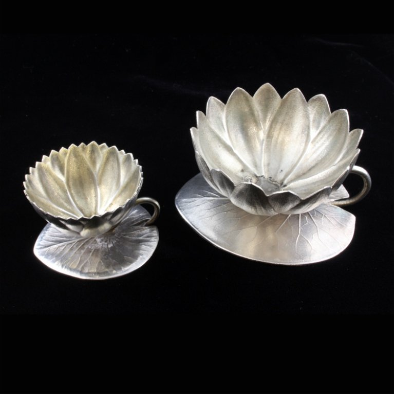 Sterling Set of Two Whiting Lily Pad Open Salts