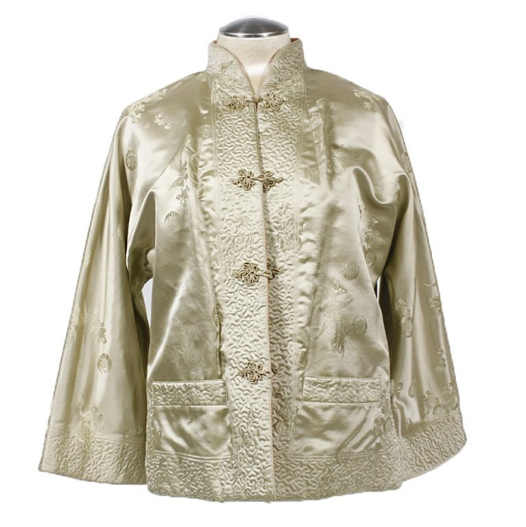 1950s Totally Reversible Ivory Silk Asian Jacket