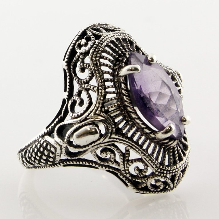 Vintage Sterling Filigree and Amethyst Ring
