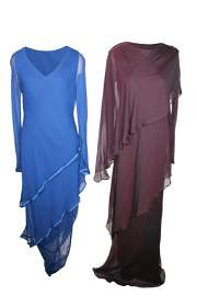Pair of Silk Evening Dresses