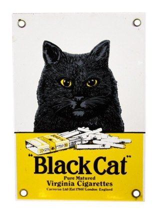 Black Cat Cigarettes Porcelain Advertisement