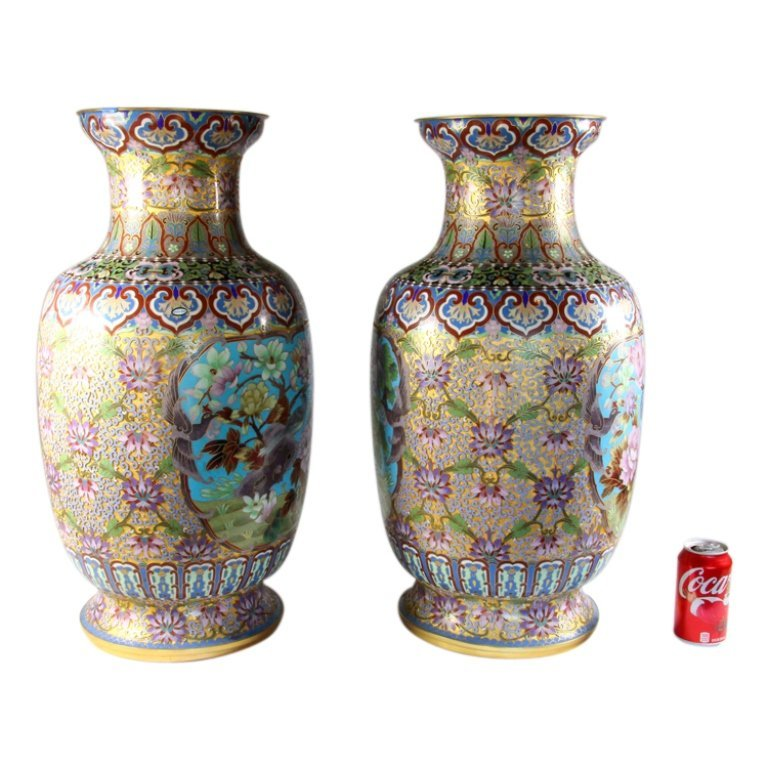 Large Matching Pair of Chinese Cloisonne Vases