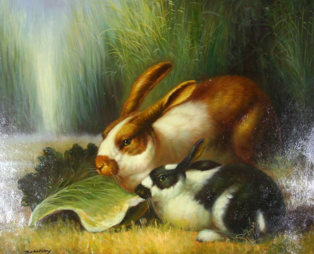 Two Rabbits Eating Lettuce Painting