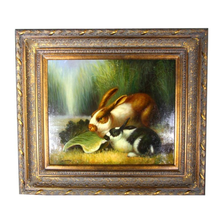 Two Rabbits Eating Lettuce Painting - 2
