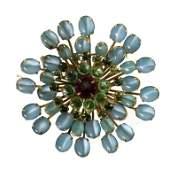 Vintage Schreiner New York Gemstone Brooch