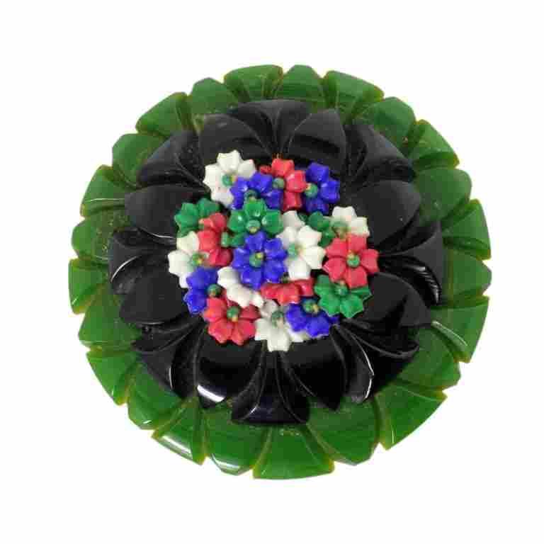 Vintage Floral Bakelite & Plastic Brooch