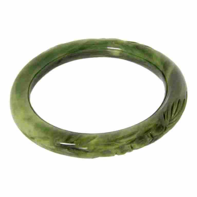 Vintage Faux Jade Carved Bangle