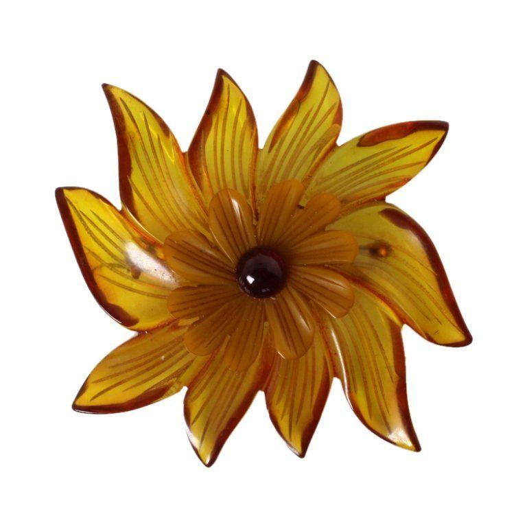 Vintage Bakelite Floral Brooch
