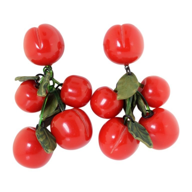 Vintage Plastic Cherry Dangle Necklace & Earrings