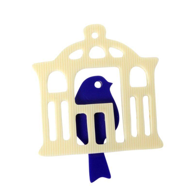 Vintage Plastic Blue Bird In Cage Brooch