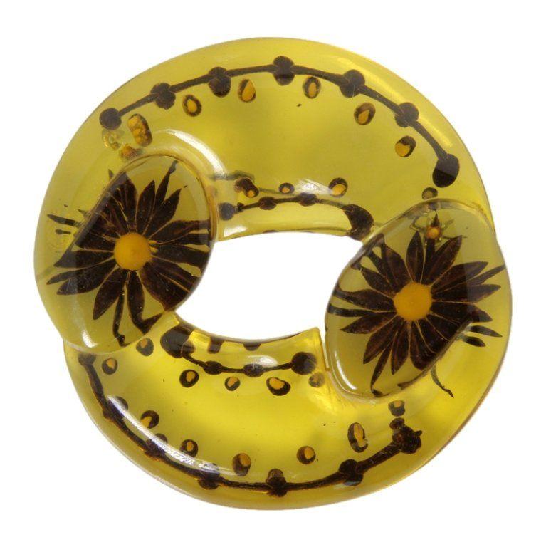 Vintage Bakelite Floral Carved Brooch
