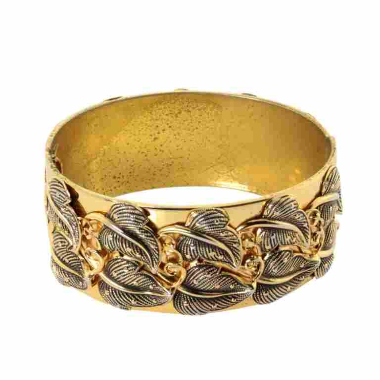 Whiting & Davis Leaf Pattern Hinged Cuff Bracelet