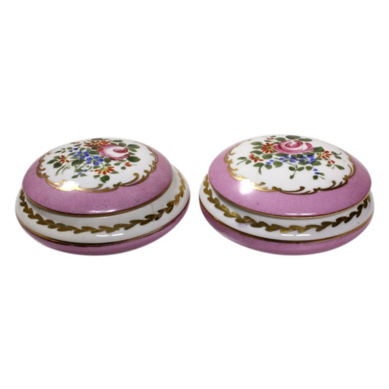 Pair of Two Hand Painted French Lidded Bowls