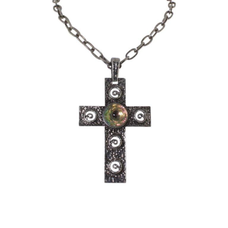 Hobe' Art Glass Cross Vintage Necklace