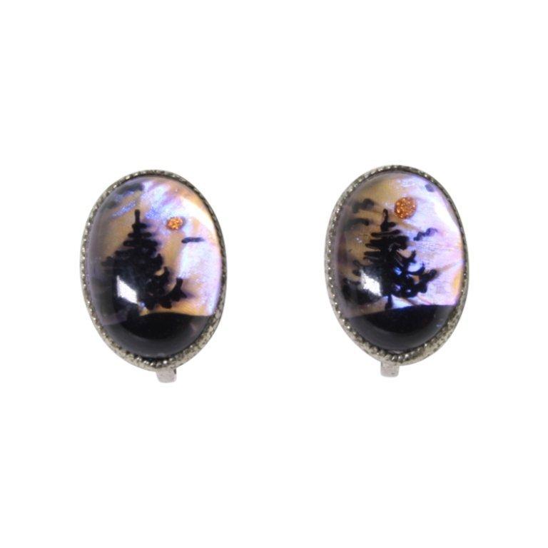 Vintage Butterfly Wing Painted Earrings