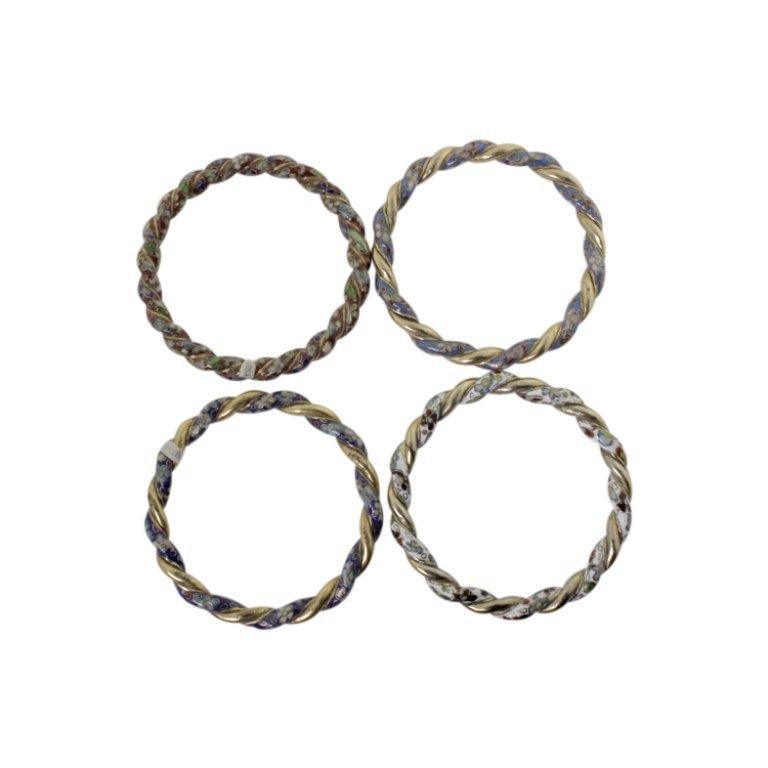 4 Cloisonne and Gold Tone Bangle Bracelets