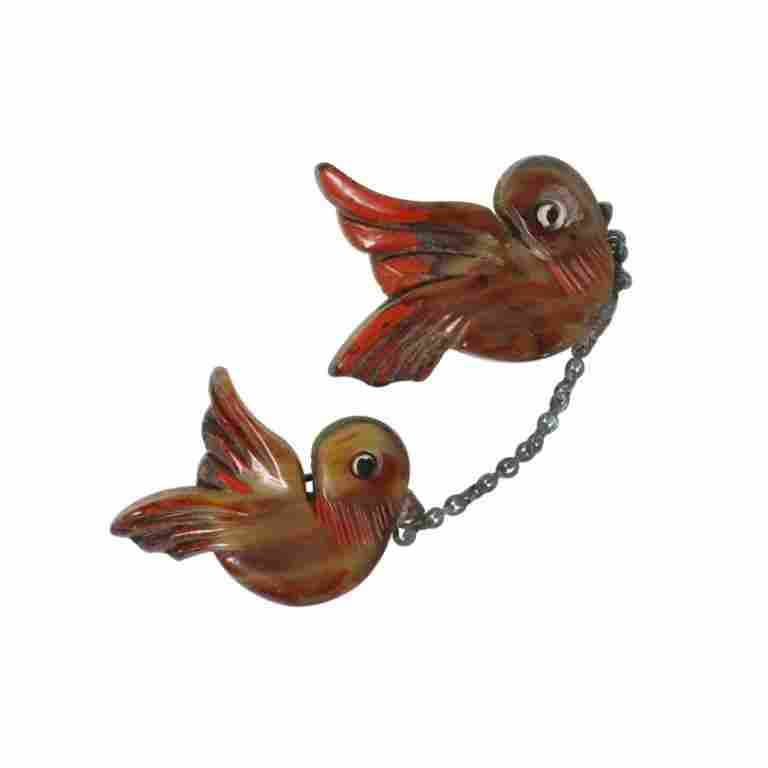 Vintage Carved Birds Plastic on Wood Brooch