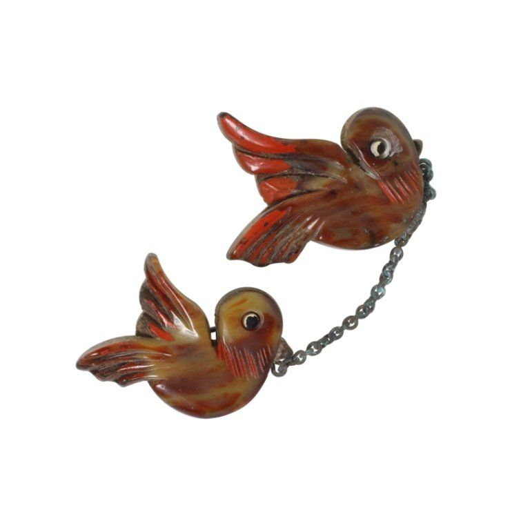 Vintage Carved Birds Plastic on Wood Brooch