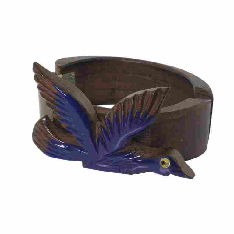 Vintage Plastic on Wood Carved Hinged Bangle