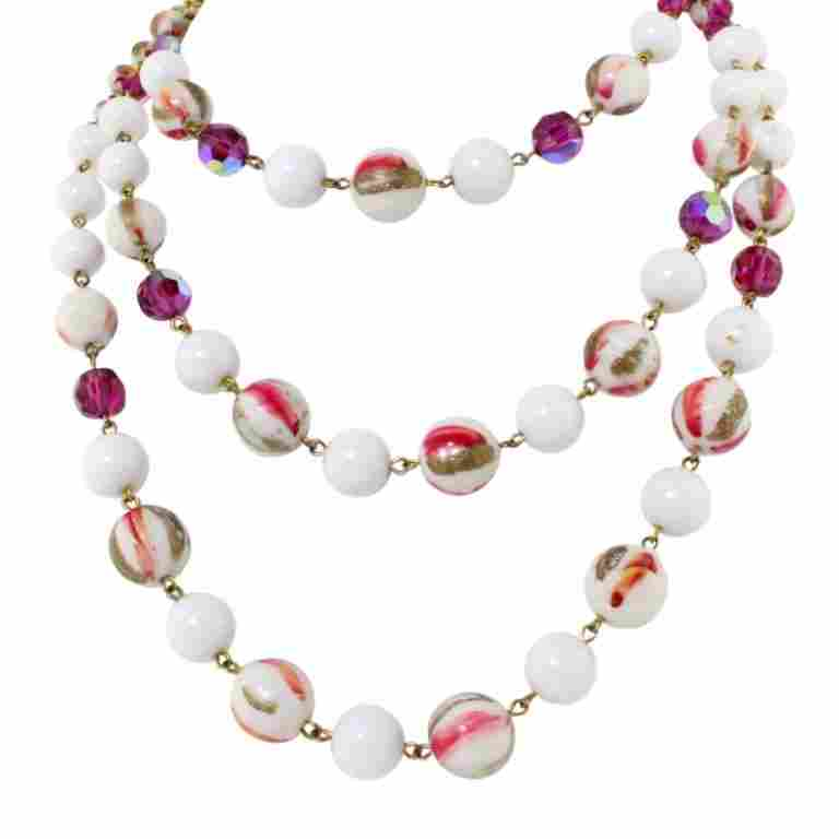 Vintage Hobe Triple Strand Glass Bead Necklace