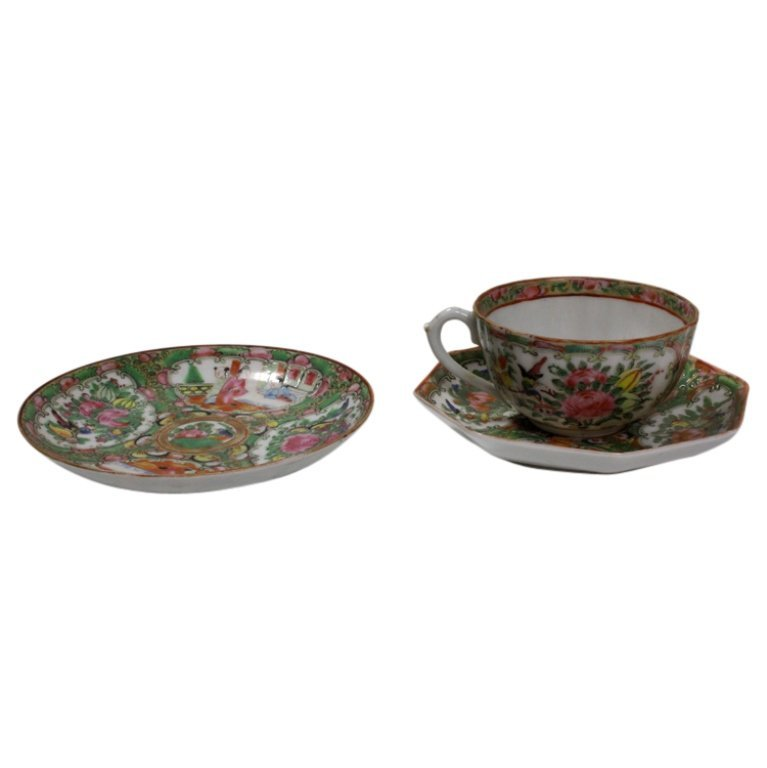 Pair of Hand Painted Chinese Plates and Teacup