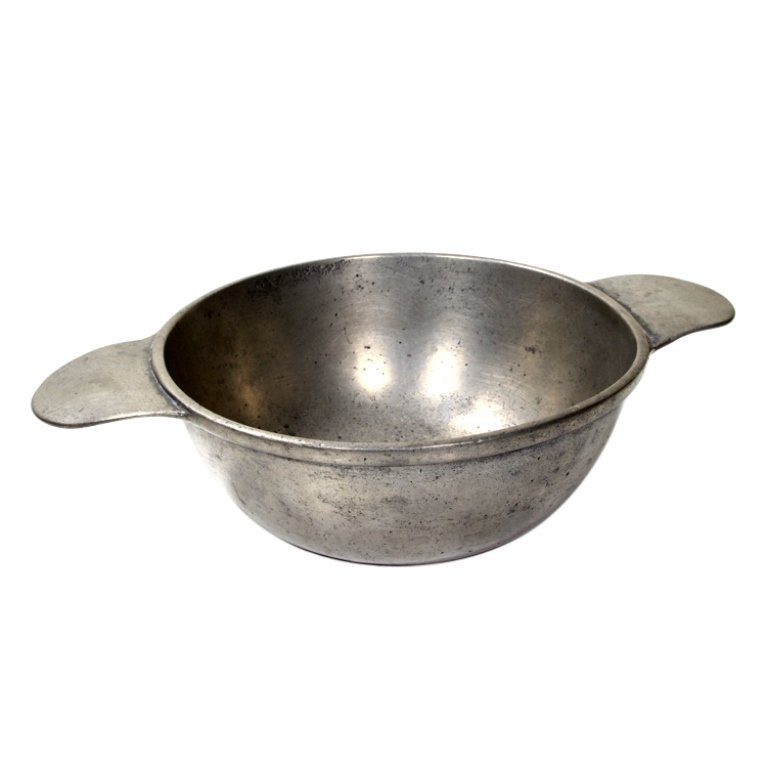 Vintage Heavy Duty Pewter Porringer With Bee Mark