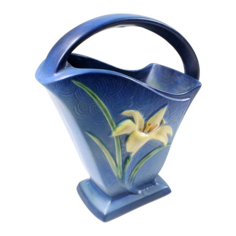 Roseville Pottery Zephyr Lily Handled Basket