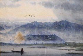 Asian Water And Mountain Scene Original Watercolor