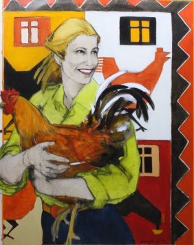 Woman With Rooster By Donna Howell Sickles