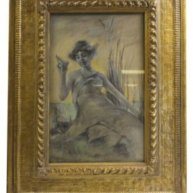 Thomas Dewing, Woman Holding A Shell, Original