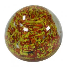 Yellow And Orange Speckled Paperweight